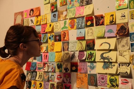 The Post-It Show at GR2 offers pieces from well-known artist for $20.; Credit: Nichole O'Connor