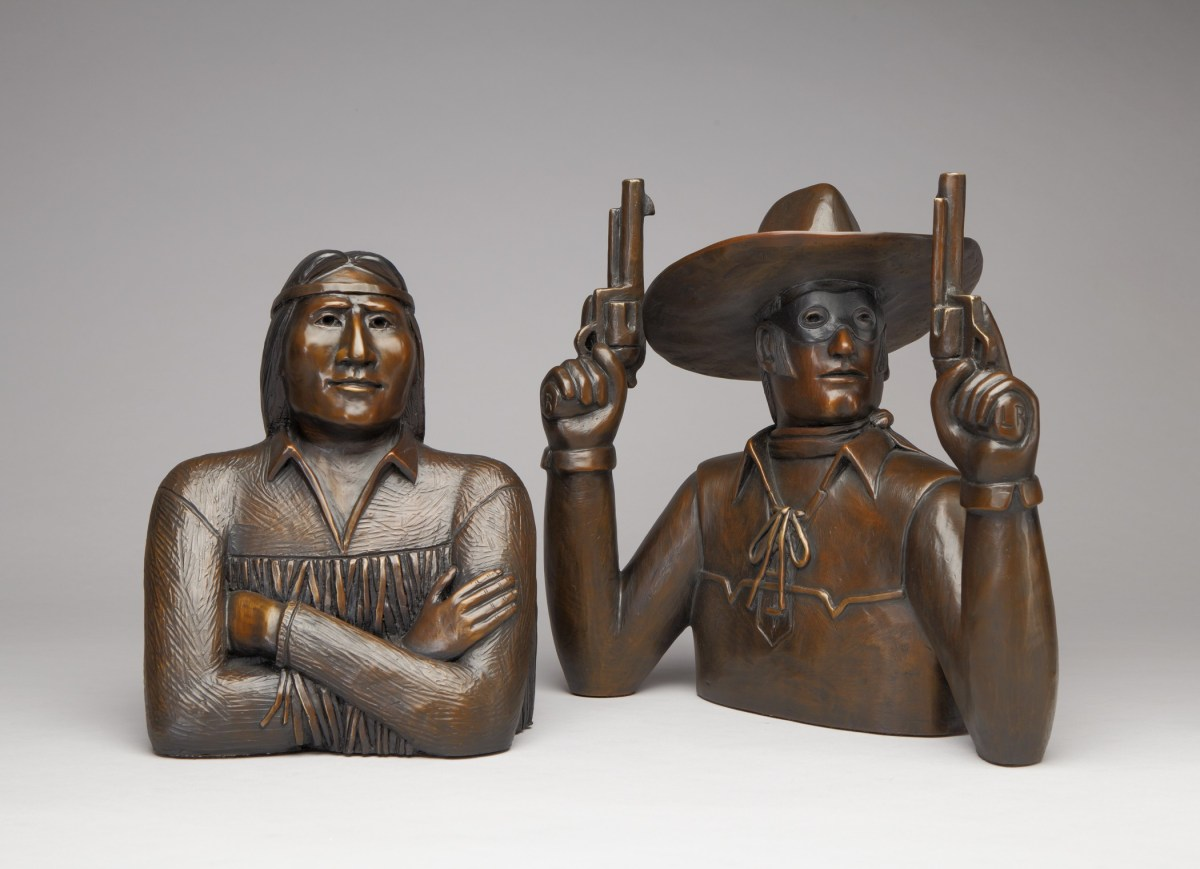David Bradley, Tonto and the Lone Ranger, (2014), bronze with patina, edition of 12, 12¾ x 9¼ x 5½ in. (Tonto); 15 x 15 x 9½ in., (Lone Ranger). Collection of the artist; Credit: Courtesy the Autry