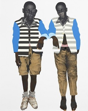 """Deborah Roberts, """"He looks like me."""" 2019. Paper, pastel, tissue, buttons, ink, and acrylic on panel. Made for Plumb Line.; Credit: Courtesy of the California African American Museum"""