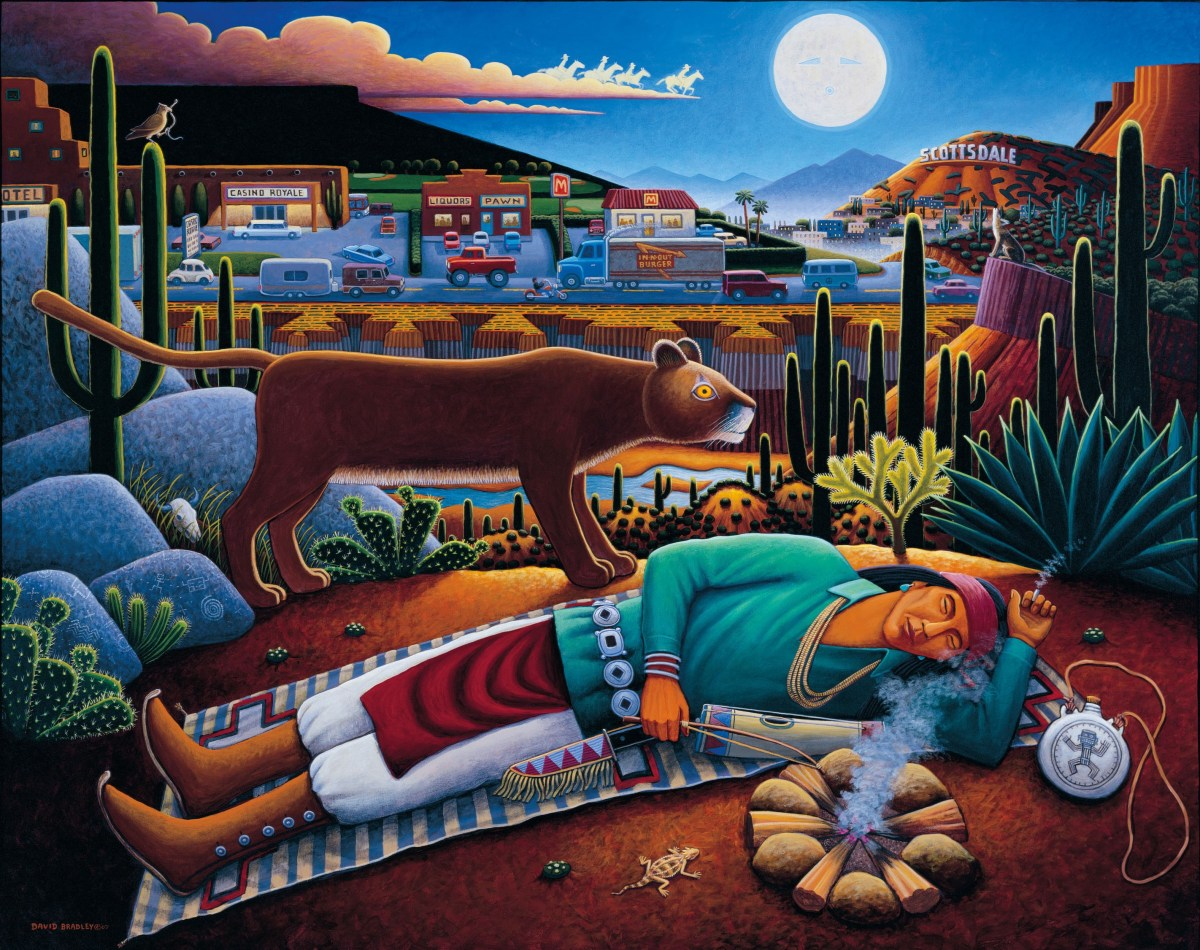 David Bradley, To Sleep, Perchance to Dream (2005), acrylic on canvas, 60 x 76 in. Gift of Richard E. Nelson, Wheelwright Museum of the American Indian; Credit: Courtesy Autry Museum