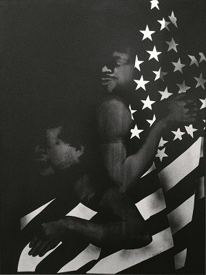 David Hammons, Black First, American Second (1970), body print and screenprint on paper. 104.8 x 79.4 inches; Credit: Courtesy of the artist