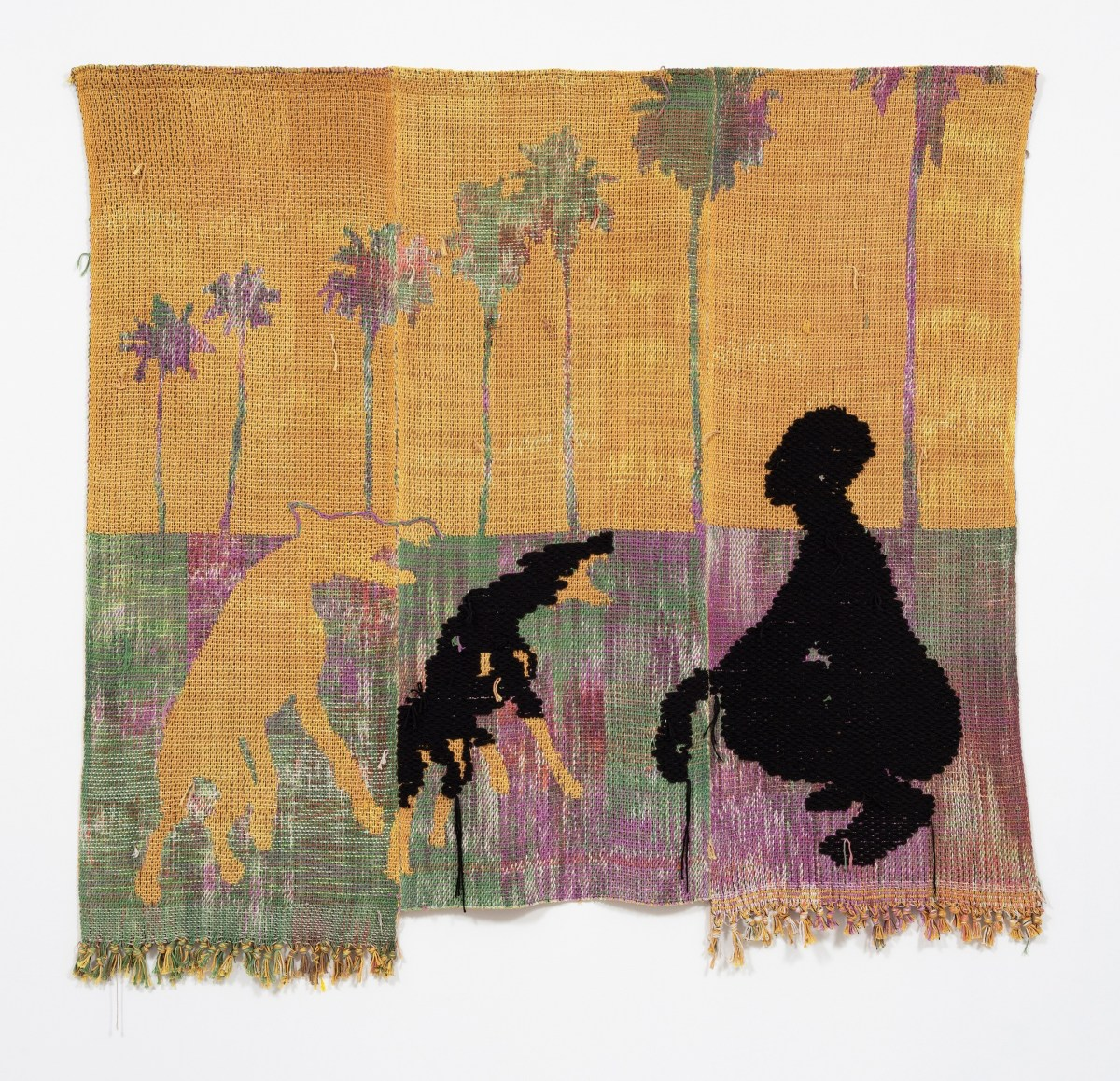 Diedrick Brackens, in the decadence of silence (2018), hand-woven cotton and acrylic yarn, 75 x 74 inches.; Credit: Courtesy Artadia