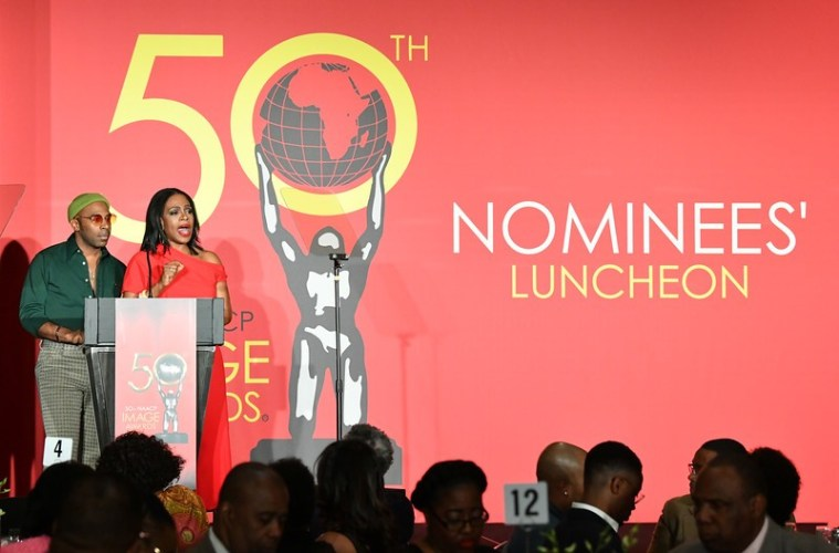 Host Sheryl Lee Ralph and Outstanding Male Artist award recipient MAJOR at the 50th annual NAACP nominees luncheon; Credit: Courtesy NAACP