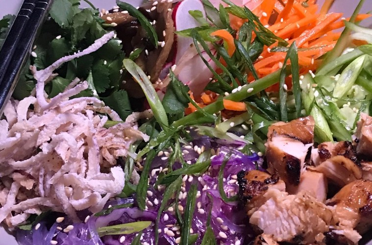 Ginger brined chicken and Unicorn Noodle Salad; Credit: Patricia Doherty