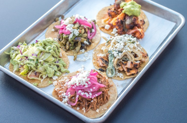 Azule Taqueria taco sampler; Credit: The Gallery Food Hall