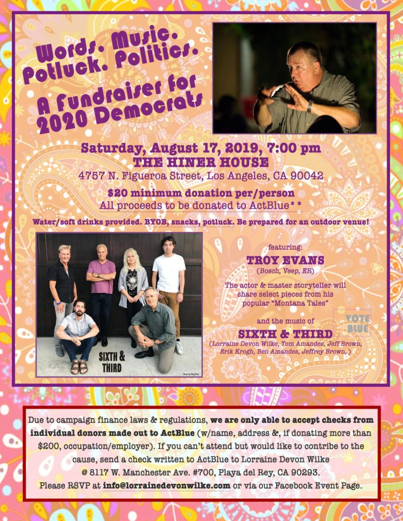 Words. Music. Potluck. Politics: a Fundraiser for 2020 Democrats