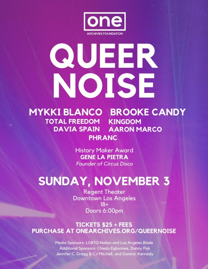 QUEER NOISE – A FUNDRAISER FOR ONE ARCHIVES FOUNDATION
