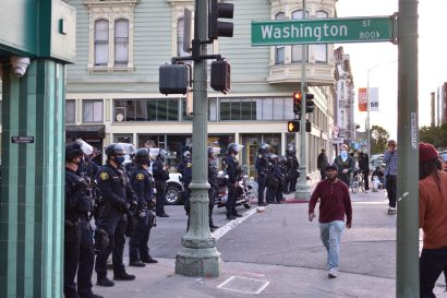 A second skirmish line protecting an alternate route to the Oakland Police Department.