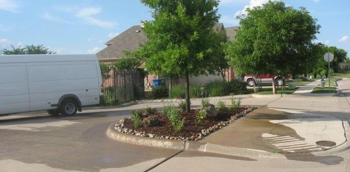 trees suburban landscape design