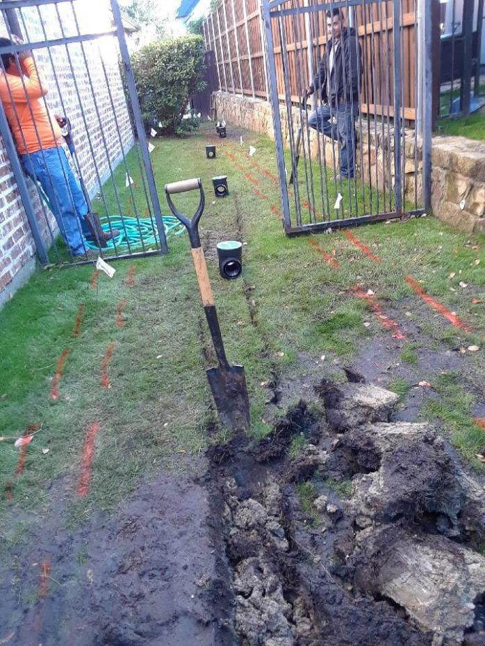 french drain irrigation install