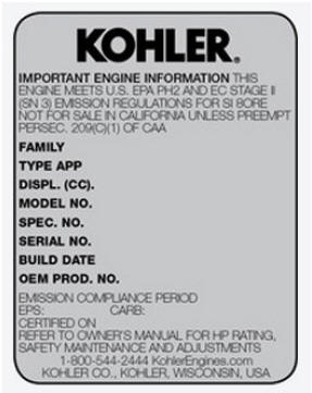 Kohler Engine Decal