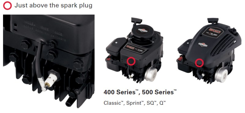 Briggs and Stratton Model above Spark Plug Example