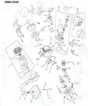 Honda GX240 Engine Parts Diagram | Lawnmower Pros