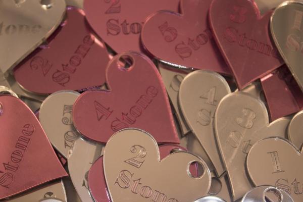 mirror acrylics heart shape stone losses