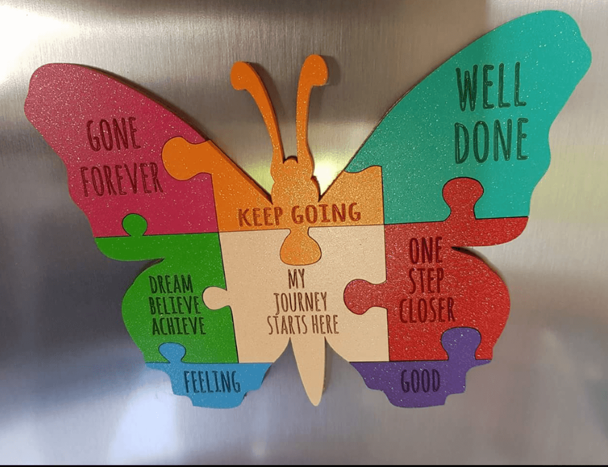 Butterfly shape jigsaw motivation plaque