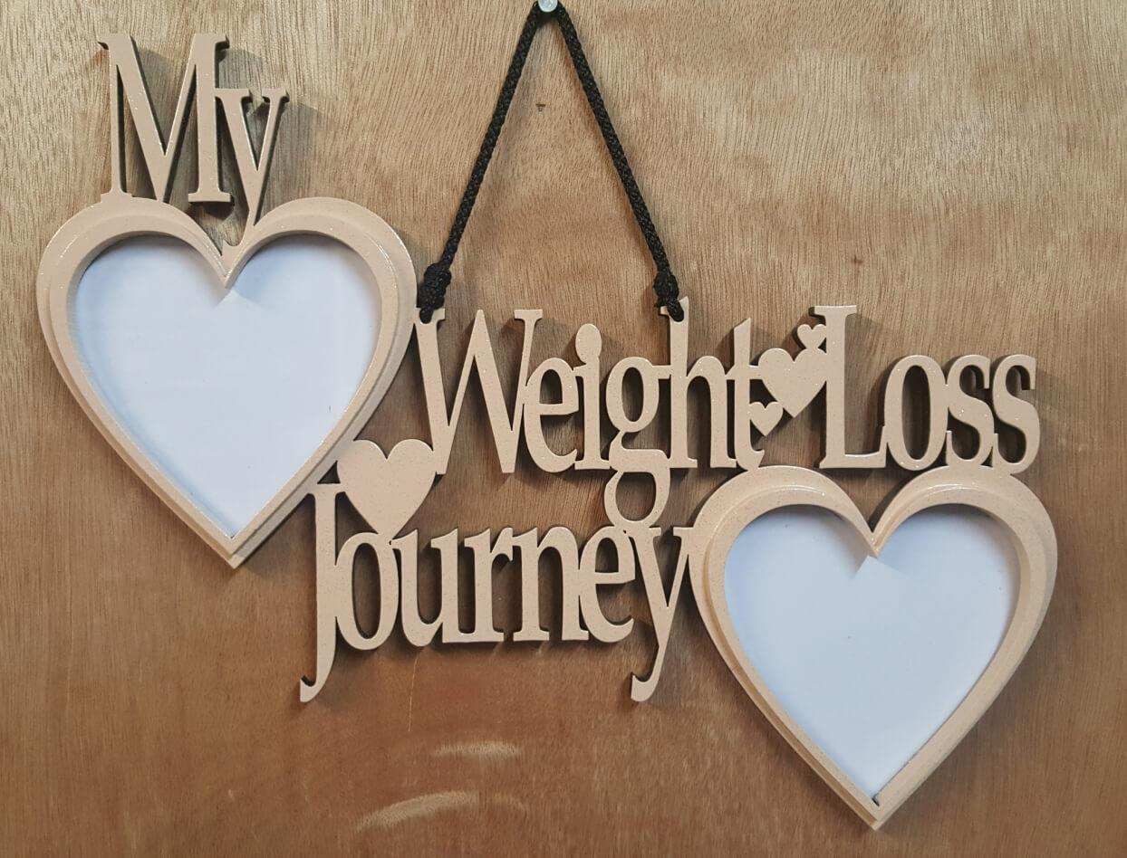 Weight loss journey picture frame.