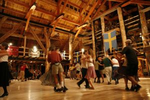 Large dance space at Camp Ogontz, in New Hampshire.  Warm atmosphere and good acoustics