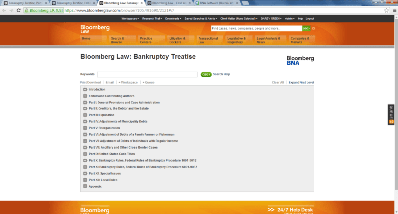 The table of contents for the new Bloomberg Law Bankruptcy Treatise.