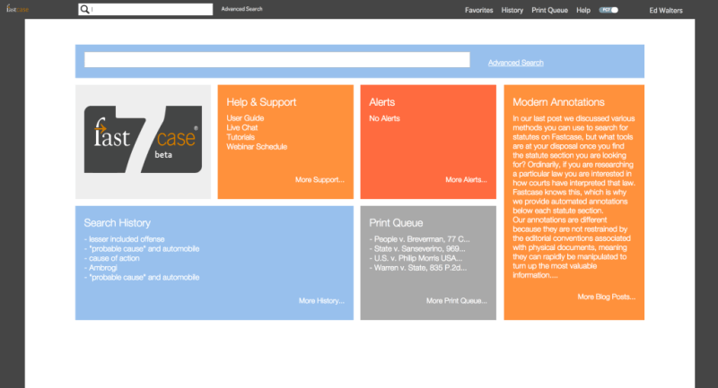 The new Fastcase 7 start page.