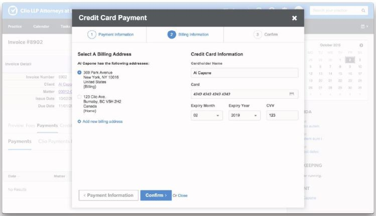 Process credit card payments directly within Clio.
