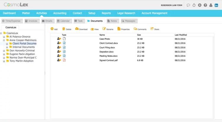 CosmoLex now has a native document storage system.