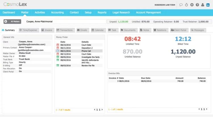 Each matter now has a dashboard summarizing key information.
