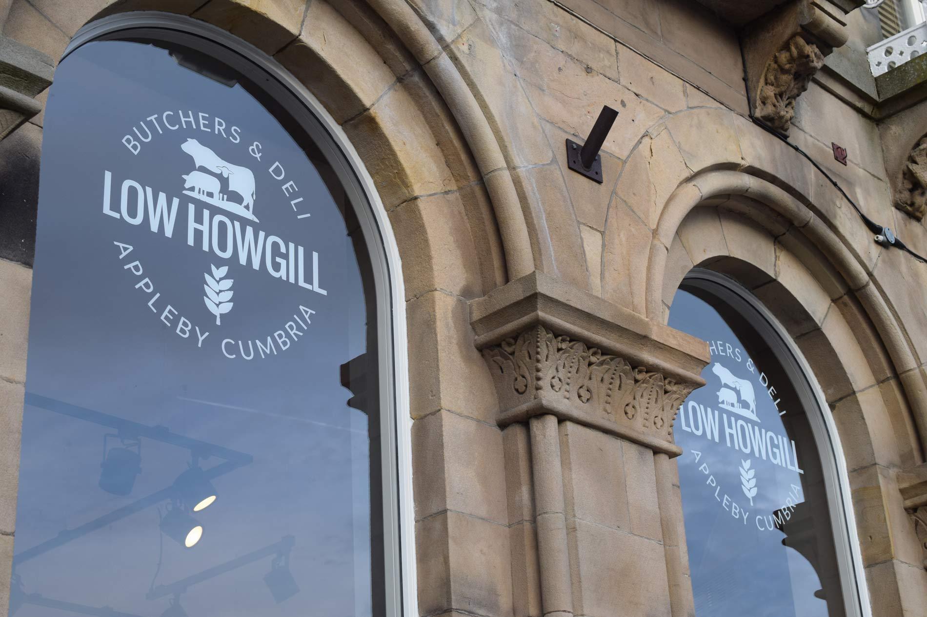 Low Howgill Butcher & Deli, Appleby, Cumbria logo branded windows
