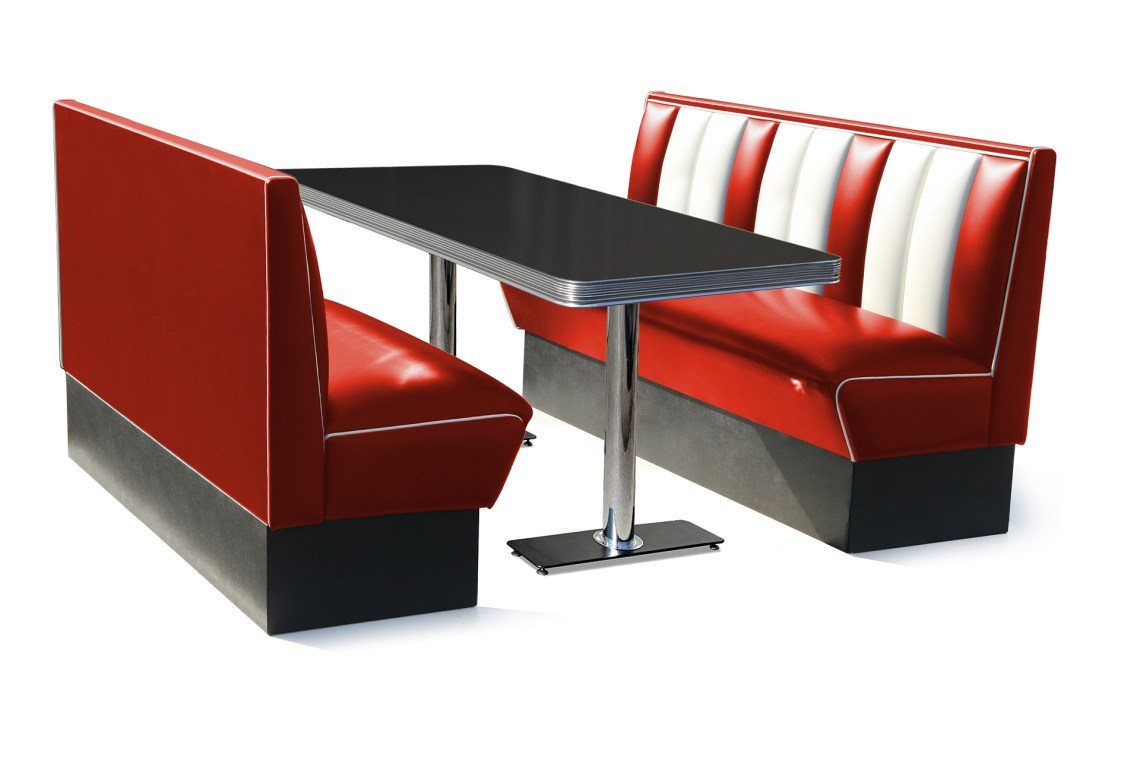Retro Furniture Diner Booth - Hollywood 150cm Six Seater ...