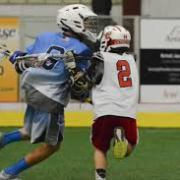youth lacrosse players one on one