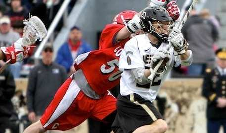 cornell lacrosse midfield chasing Army ball