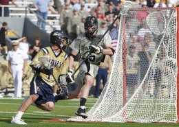 navy lacrosse half field practice scrimmage drill