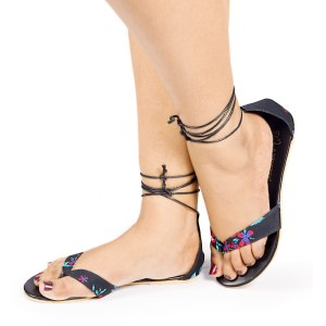 Laydeez Two Strap Tie up Sandals in Black