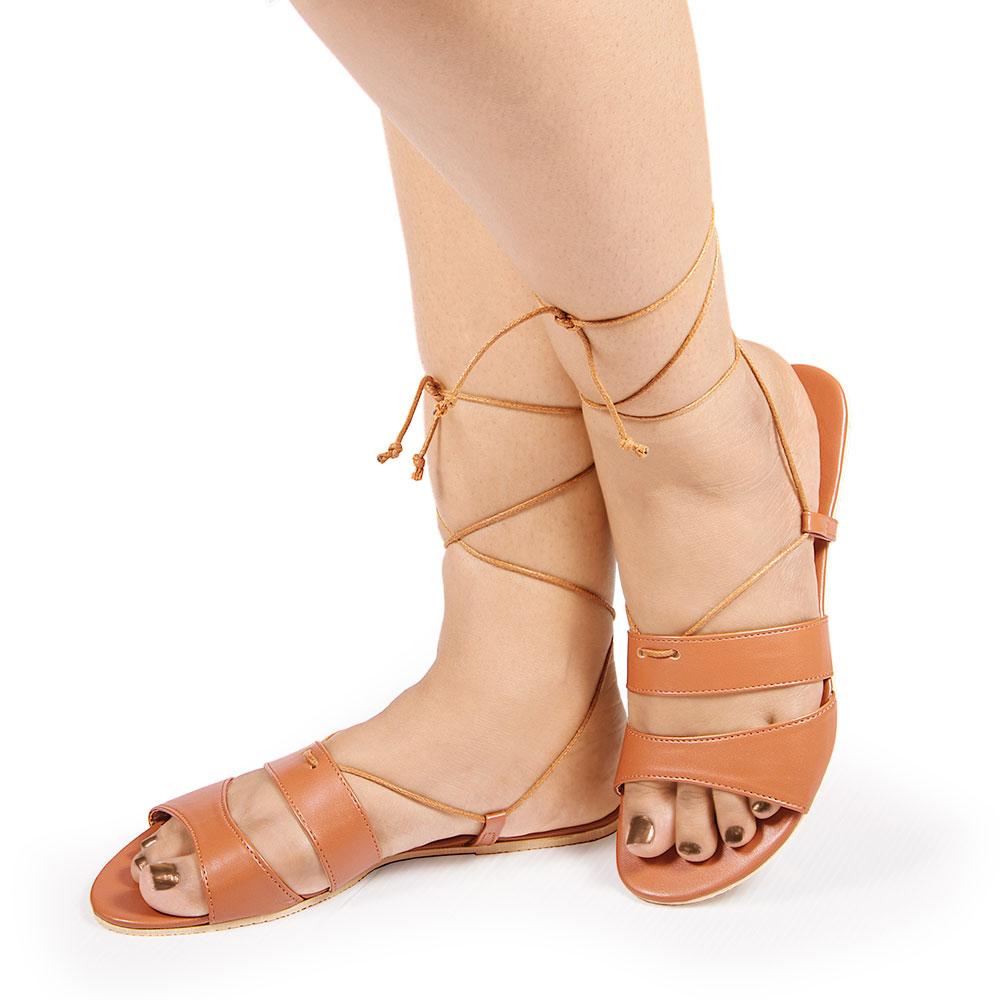 Laydeez Double Strap Tie Up Sandals in Brown