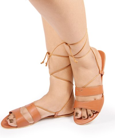 Laydeez Double Strap Tie Up Sandals in Brown