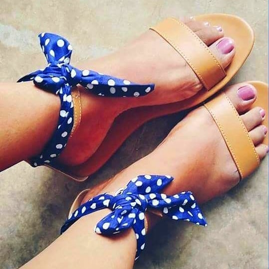 Laydeez Polka Dot Ankle Tie Up Sandals