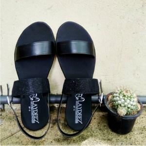 Black Sparkle Two Straps Sandals