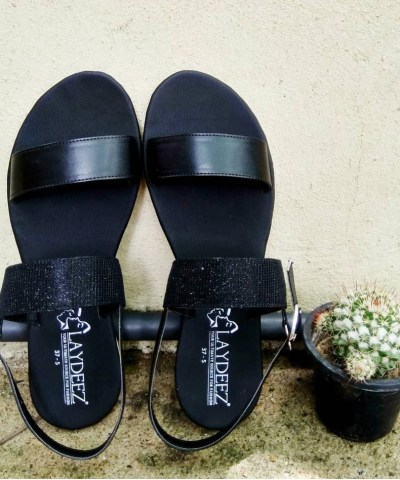 Black Sparkle Two Straps Sandals