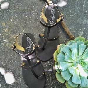 Roman Gladiator Sandals In Black