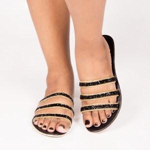 Laydeez Stone Embellished Triple Straps Sandals