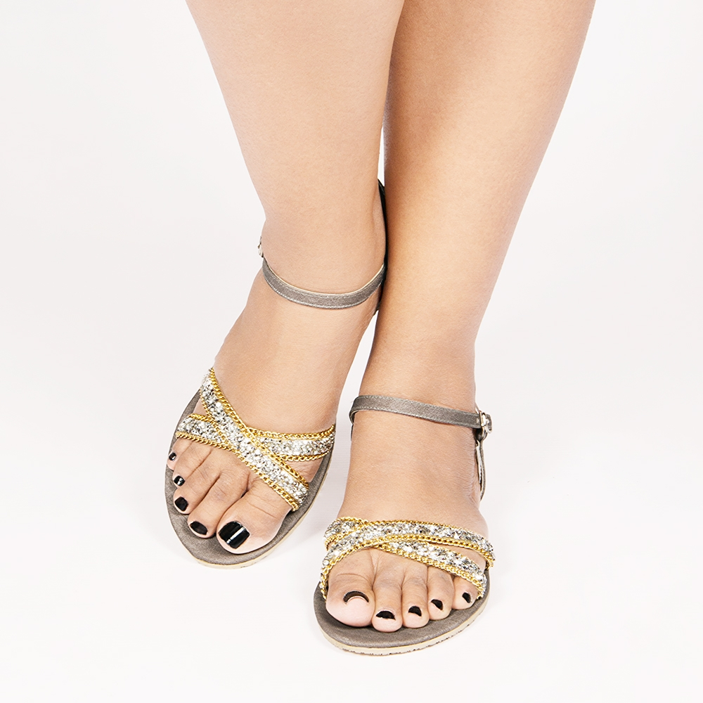 Crystal Embellished Crossover Sandals