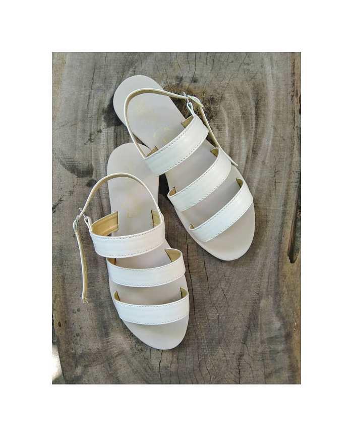 Triple Straps In White Sandals