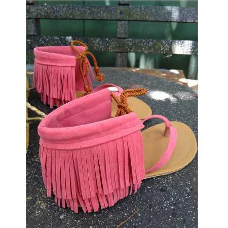 Tassel Sandals In Nude Pink