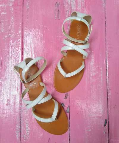 Laydeez Mid Cross Flat Sandals in White