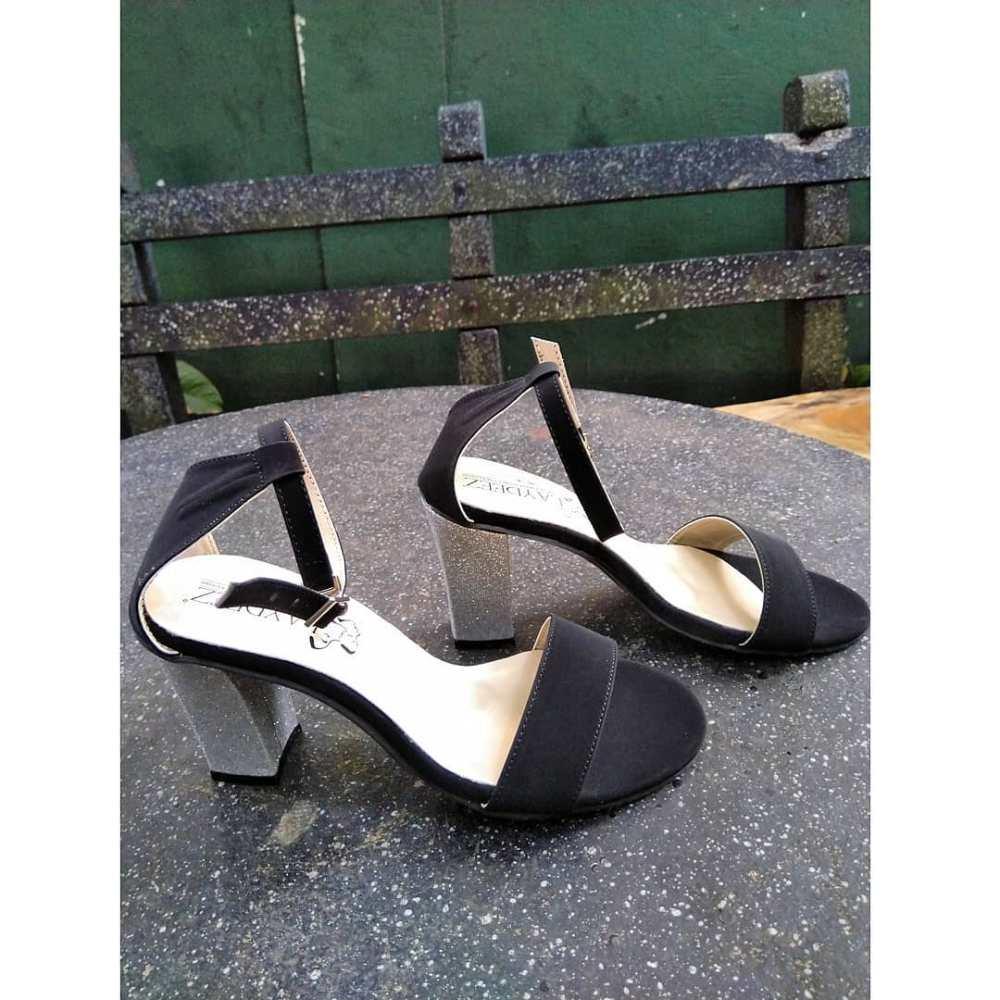 Laydeez Silver Glittery Block Heels