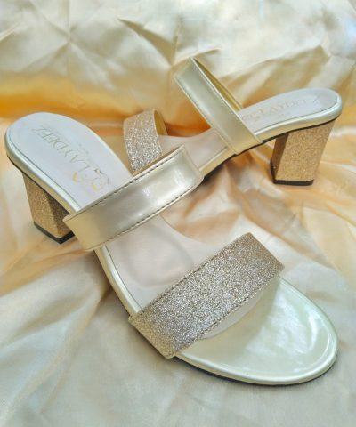 Laydeez Dual Strapped Glittery Block Heels