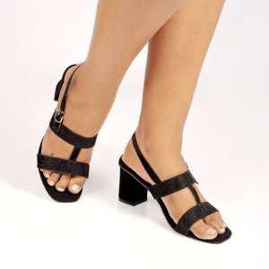 Laydeez Comfy T-Strap Block Heels in Black