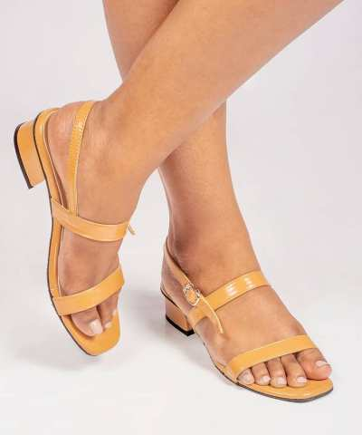 Laydeez Two Strap Low Heels in Mustard
