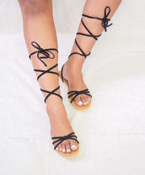 Laydeez Knotted Tie Up Flat Sandals