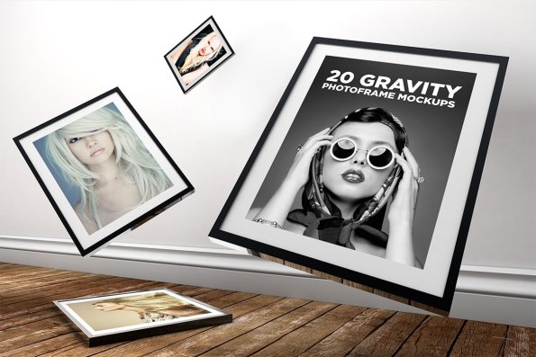 20 Gravity Photo Frame Mockups by Layerform Design Co