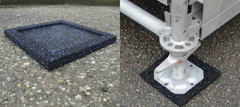 Anti-slip rubber pad for scaffold base plates